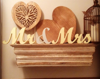 12cm Handpainted Freestanding Wedding Letters - Mr & Mrs - New Wrexham Font