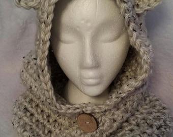 Crochet Hooded Bear Cowl