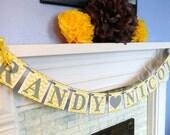 Bridal Shower Decorations - Couples Name Banner - Engagement Photo Prop - Chevron Wedding decor - Custom Colors