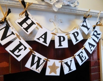 Happy NEW Year Banner- New Years Eve Party Decorations- Photo Prop-Holiday Garland- Party Decor