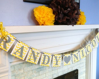 Yellow and Gray Bridal Shower Decorations - Couples Name Banner - Engagement Photo Prop - Chevron Wedding decor - Custom Colors