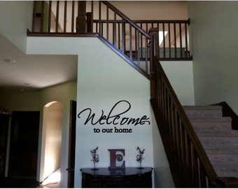 Welcome to our Home, Decal, Living Room Decor- Wall Decal