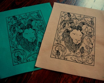 Horned Lion in Botanical Thicket Sew On Punk Patch
