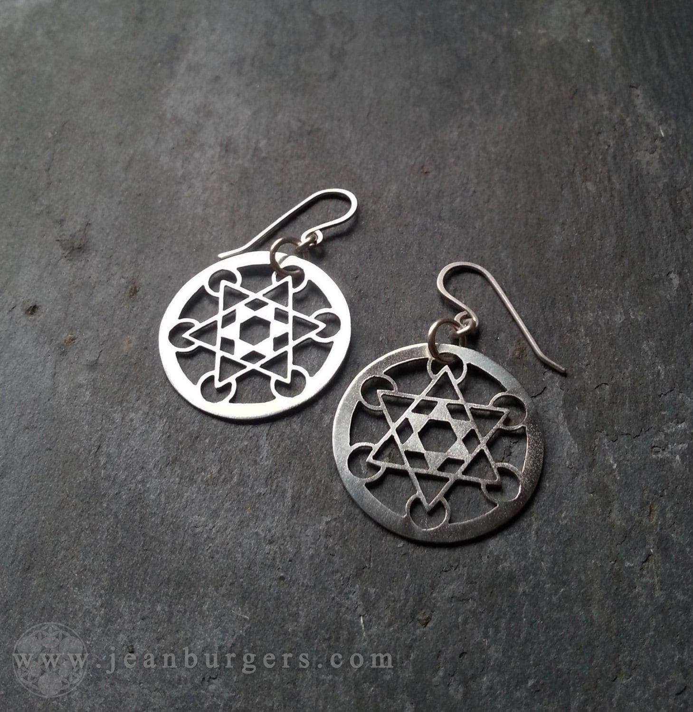 Metatron 39 s cube earrings on sterling silver earrings hooks for Metatron s cube jewelry