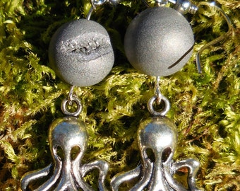 Silver Octopus or Cthulhu Charm and Round geode Bead Hook Earrings