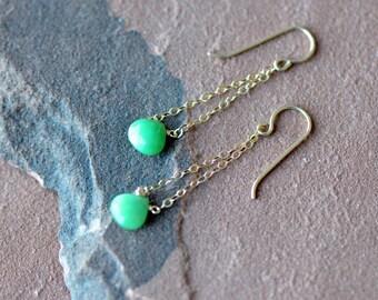 Emerald Earrings, Gold Chain Earrings, Green Cushion Cut Emerald, Dangling Earrings