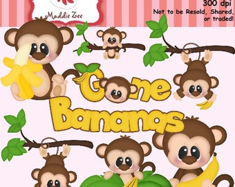 Gone Bananas 1 Clipart (Digital Download)