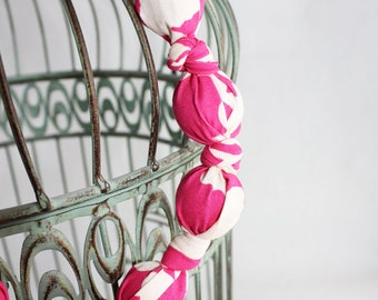 Fabric covered bead necklace, Amy Butler Pink Coriander, Belle collection, designer cotton fabric