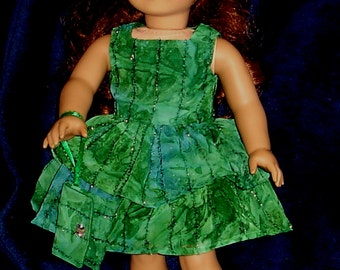 "Fancy Deep Green and Turquoise Party Dress, Purse and Headband Fits American Girl Dolls or Similar 18"" Dolls"