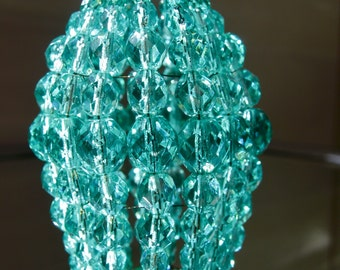 Small Sea Green Glass Beaded Light Bulb Cover, Chandelier Shade, Sconce Shade, Candelabra Shade, Shabby Chic Lamp Shade
