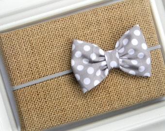 Grey Polka Dot Bow Headband - Grey Bow Headband - Baby Grey Bow