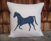 Horse Pillow Cover - Burlap Pillow Cover with Horse Sihouette 16 x 16 - 18 x 18 - 20 x 20 - Decorative Pillow - Equestrian Pillow Decor