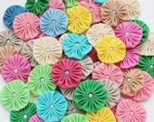 Fabric YoYo, yo-yo's mixed colors with pearl center, make headbands, applique, embellishments, wholesale yoyos solid colors 1.5 inches