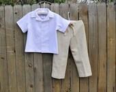 Boys linen shirt and pants set, Ring Bearer clothes, Beach Wedding, Photos, Graduations...6m-10 yrs