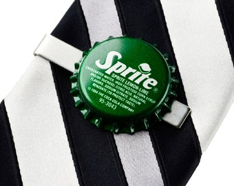 Sprite (R) Bottle Cap Tie Clip - Tie Bar - Tie Clasp - Business Gift - Handmade - Gift Box Included