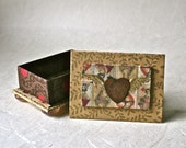 Rustic Handmade Box with Rusty Winged Heart for Gift or Favor