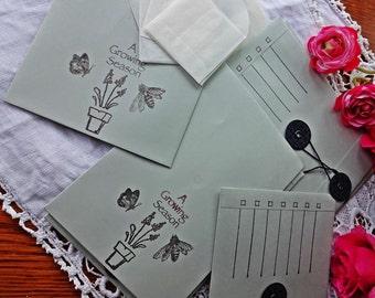 Outdoor & Garden, 6 Garden Seed  Envelopes//Luxury C6 Greyish Blue Seed Envelopes With 10 mini Pouches,Set 2