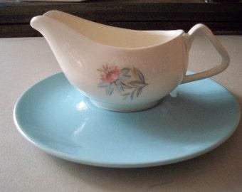 Vintage Blue/White Floral Creamer or Gravy Server Set
