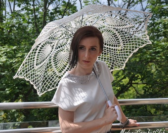 Wedding Lace Umbrella- White Umbrella- Victorian Umbrella- Wedding Prop- Photo Prop- Victorian Parasol- Gift for Bride To Be- Bridal Shower