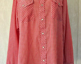 vintage 70s mens red white gingham western cowboy shirt  17 17.5 jason made in usa
