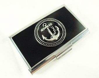 Nautical Anchor Silver  Business Card Credit Card Holder Wallet Gift Mens Womens