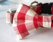 Spring Cotton Linen Red Big Gingham Check Bow Tie Dog Collar