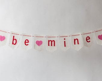 SALE Be Mine Bunting Valentine's Day with Hearts on White Burlap