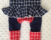 Newborn size Maxaloones with attached Skirt - Anchor Print - Size fits 6 weeks to approx 3 months - Grow with Me Pants