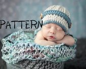 Crochet PATTERN - Newborn Textured Newsboy Cap Pattern, Crochet Photo Prop for Newborns, Little Man Newsboy Hat PDF