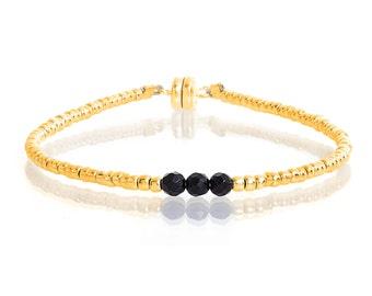 Delicate Gold & Faceted Onyx Beaded Friendship Bracelet