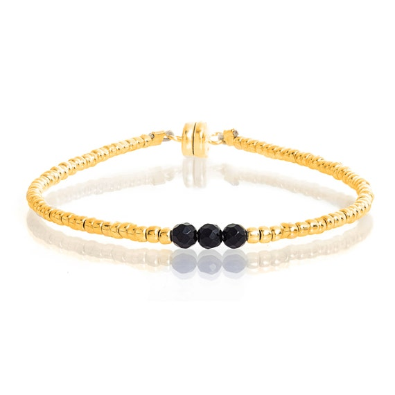 Delicate Gold & Faceted Onyx Beaded Friendship Bracelet