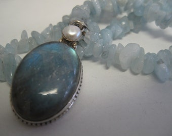 Aquamarine necklace with labradorite, freshwater pearl, and sterling silver pendant