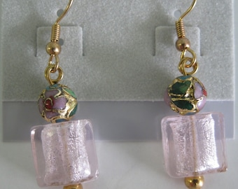 Pink foil glass and cloisonne earrings