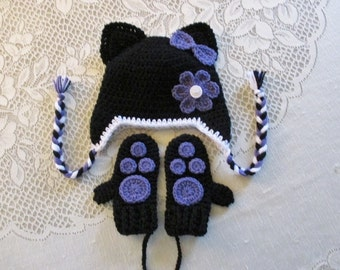Black and Lavender Kitty Cat Crochet Hat and Mitten Set  - Photo Prop - Available in Baby to Toddler Size - Any Color Combination