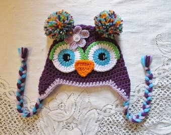 Dark Purple, Light Purple and Turquoise Crochet Owl Hat - Photo Prop - Available in Any Size or Color Combination