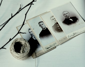 A N T I Q U E // Cabinet Card Photograph In Sepia Black & White Photo // Male Photography // Set of 4