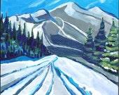 "Vermont, Original Painting, Art, 8 x 8"" x 3/4"" Winter Snow Mountain Landscape"