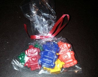 Recycled Crayons. Robot Crayons. Kids Crayons. Robot. Party Favors. Boy Crayons. 15 Bags of Crayons. Rainbow Crayons. Party Favor. Wrapped.