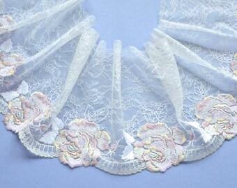 Off White, Chantilly Lace Trim, Pastel Roses Chantilly Lace, Wedding Dress, Flower Girl Dresses, Lingerie, Lace Decor, Dolls
