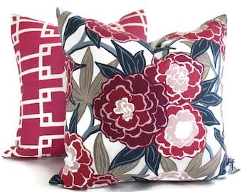 Magenta Peony Vine Pillow Cover Pillow Robert Allen  Square Pillow, Lumbar Pillow, Eurosham- Accent Pillows, Throw Pillows, Toss Pillows