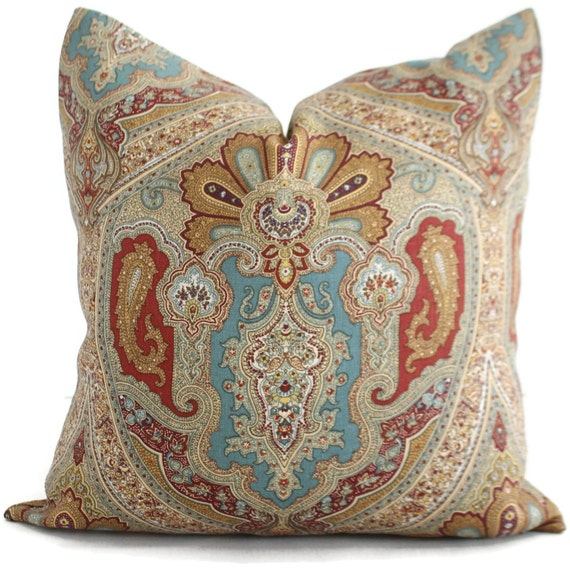 Red Tan Blue Paisley Decorative Pillow Cover Square or
