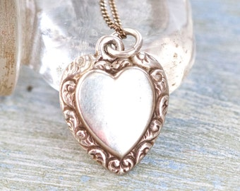 Sterling Silver Heart Necklace - Antique love Pendant on Chain