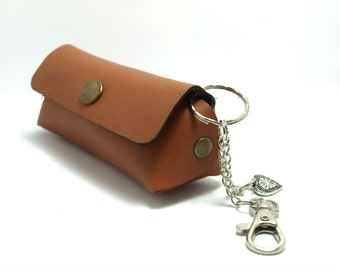 Handmade genuine leather mini bag/ keychain / wallet / clutch / pouch/ coin purse / key holder custom color genuine leather, free initials