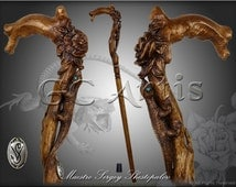 LIZARD & FLOWER DARK solid wood walking stick cane handcarved crafted authors made top art