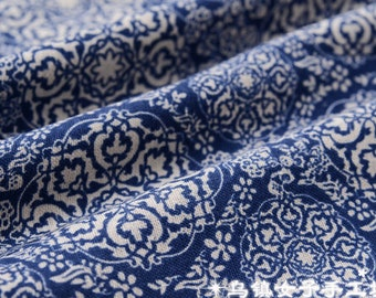 chinese ancient  ruyi blue and white porclain cotton and flax fabric half yard