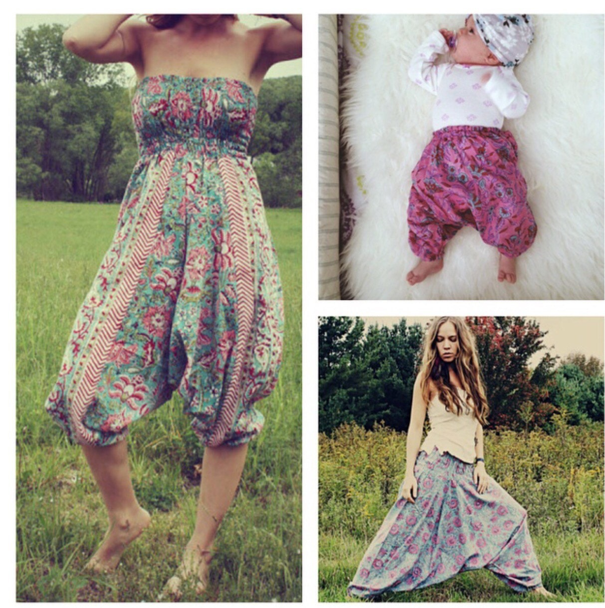 Handmade Harem Pants Mommy and Me Clothing Baby Hippie