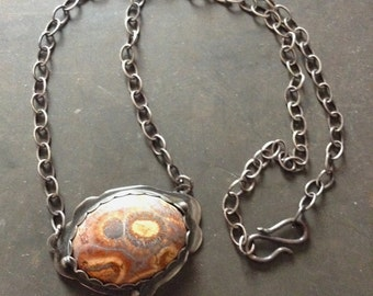 Birdseye Rhyolite Sterling Silver Pendant Necklace
