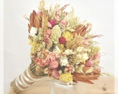 Pink Vintage Dried Wildflower Bouquet - Wedding Bridal Bouquets -protea, natural, gold, herbs, grains, wheat *Vintage Wildflower Collection*