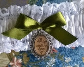 DESIGN YOUR OWN custom made wedding / bridal picture garter with silver cameo frame