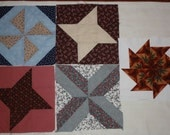 5 Vintage 1970's Quilt Blocks